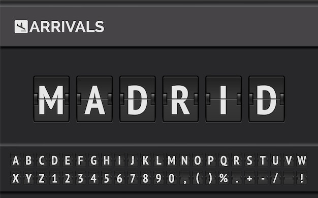 Flight info of destination in europe: madrid typed by airport flip board mechanical font with airplane timetable icon.