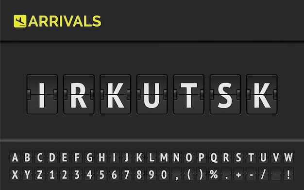 Flight info of destination in syberia : irkutsk typed by airport flip board mechanical font with airplane arrival icon.