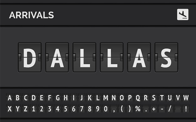 Flight info of destination in usa: dallas typed by airport flip board mechanical font with airplane arrival icon.