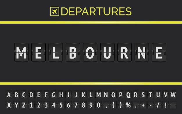 Информация о рейсе пункта назначения в австралии, мельбурн, набранная механическим шрифтом с откидной доской аэропорта со значком вылета самолета.