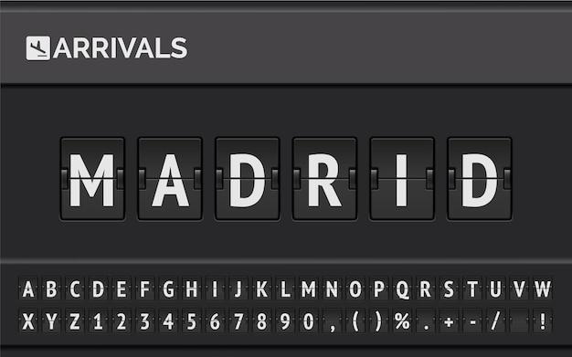 ヨーロッパの目的地のフライト情報:飛行機の時刻表アイコンが付いた空港フリップボードの機械フォントで入力されたマドリード。