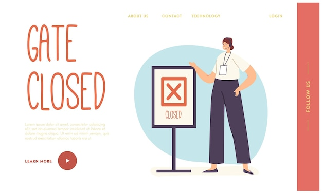 Flight late, trouble in airport landing page template. boarding late problem, woman on registration desk stand at banner with closed gates text, departure cancellation. cartoon vector illustration