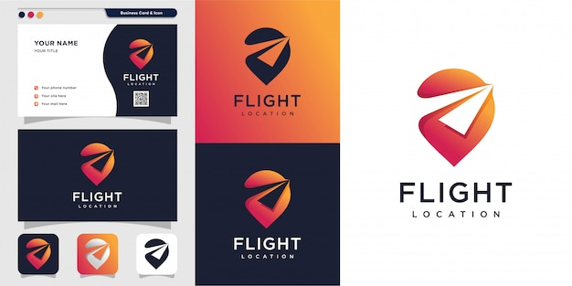Flight location logo and business card design. pin, map, location, flight, plane, icon premium