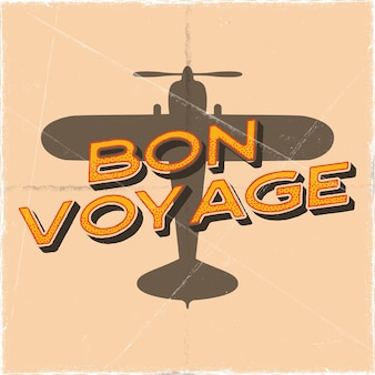 レトロなスタイルのフライトポスター。ボン航海の見積もり。 tシャツ、マグカップ、エンブレム、パッチのヴィンテージ手描き旅行飛行機のデザイン。複葉機とテキストの株式ベクトルレトロイラストバナー。