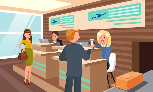 Flight registration in airport flat illustration.