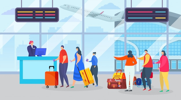 Flight registration, queue at airport vector illustration. character with suitcases in long line for journey. passenger people