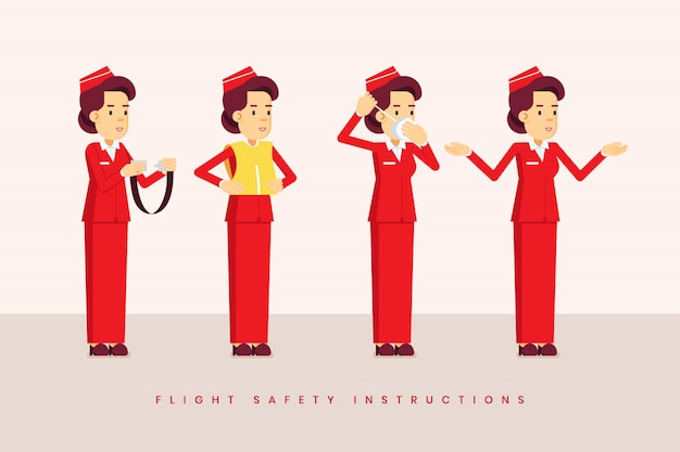 Flight safety instruction from the stewardess