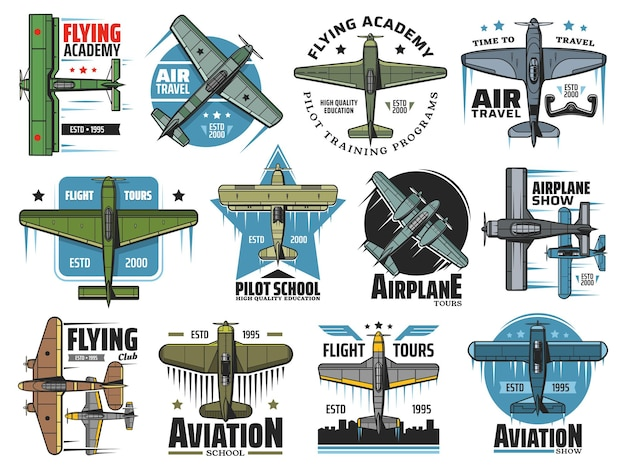 Flight school icons. vintage plane flying in sky, airplane aviation school and commercial pilot