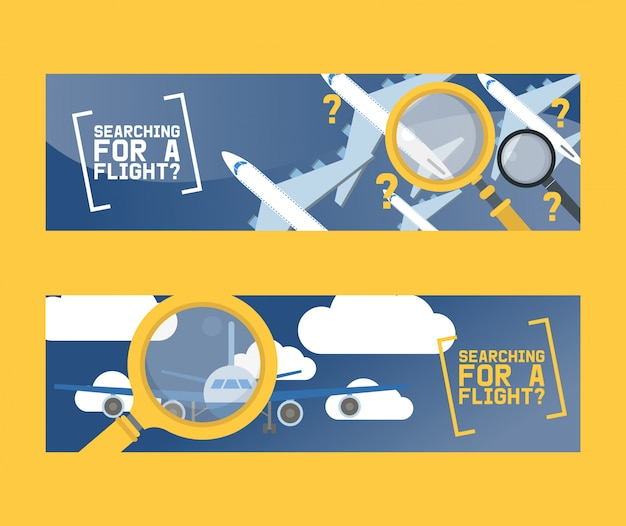 Flight search and airplane tickets service concept set of banners vector illustration.