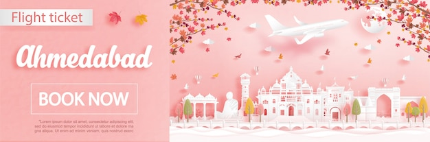 Flight and ticket advertising template with travel to ahmedabad, india in autumn season deal with falling maple leaves and famous landmarks in paper cut style