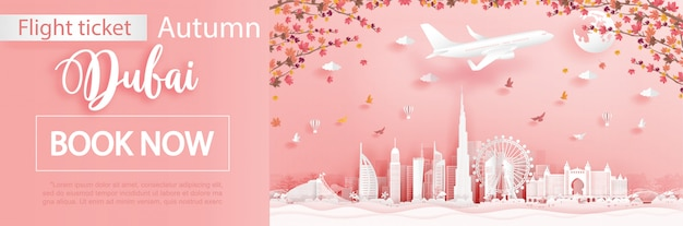 Flight and ticket advertising template with travel to dubai in autumn season deal with falling maple leaves