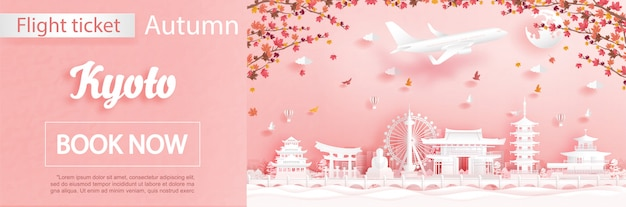 Flight and ticket advertising template with travel to kyoto, japan in autumn season deal with falling maple leaves and famous landmarks in paper cut style