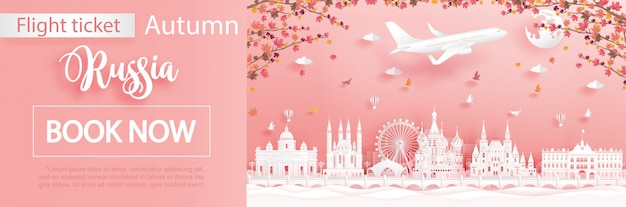 Flight and ticket advertising template with travel to moscow, russia in autumn season deal with falling maple leaves