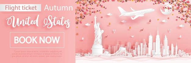 Flight and ticket advertising template with travel to new york city, united states