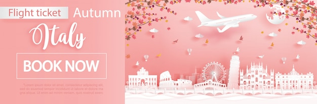 Flight and ticket with travel to italy in autumn season