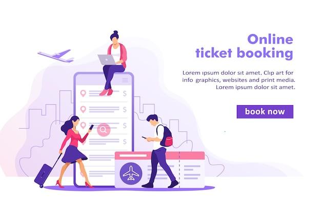 航空券のオンライン予約の概念。スマートフォンでチケットを購入。