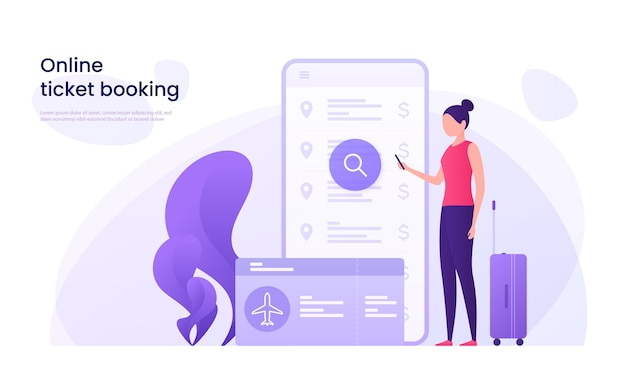 Flight tickets online booking concept.