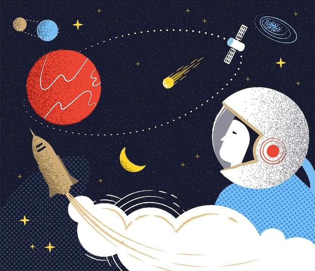 Полет на марс. иллюстрация в стиле рерто.