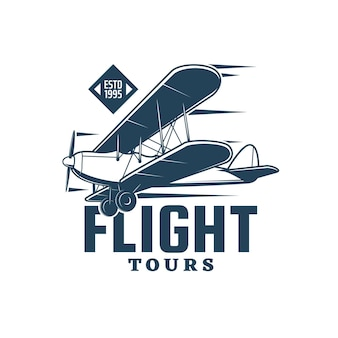 Икона летных туров старинного биплана, ретро самолета или самолета с пропеллером и колесами