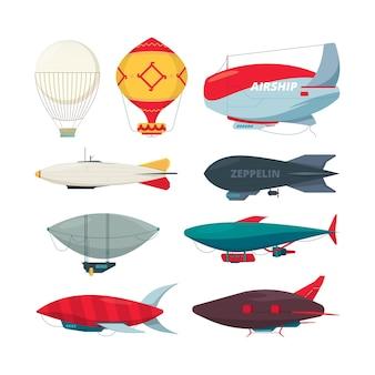 フライトツェッペリン。飛行船の気球の自由の概念コレクションベクトル飛行船セット。プロペラコレクション付きのイラスト飛行船気球