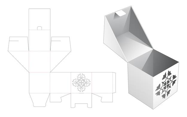 Откидная и закрытая коробка со скрытым трафаретным шаблоном для высечки