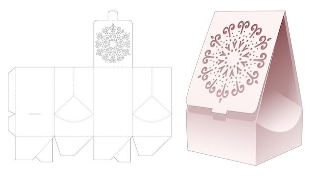 Flip bag with mandala stencil on flip die cut template