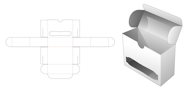 Flip box with luxury window die cut template