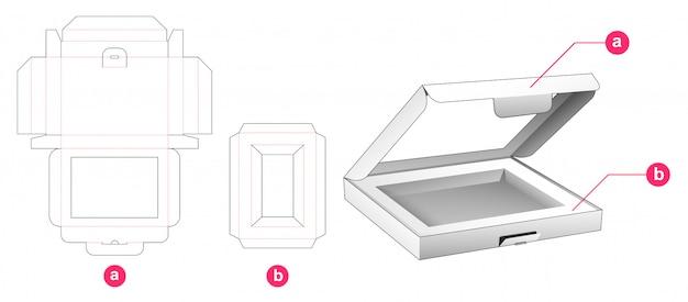 창 및 인서트 다이 컷 템플릿이있는 플립 박스