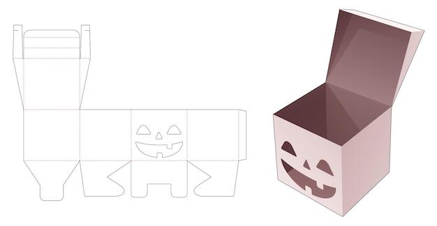 ステンシルハロウィーンパターンダイカットテンプレートとキャンディーボックスを反転します。