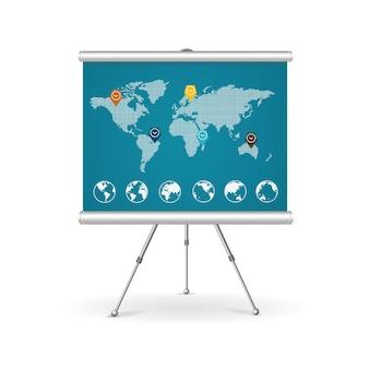 フリップチャートのビジネスコンセプト。ポイントマーカーでマップします。
