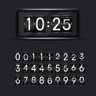 Flip clock numbers. retro countdown animation, mechanical scoreboard number and numeric counter flips. alarm timer, score day date counter or time display numbers vector symbols set