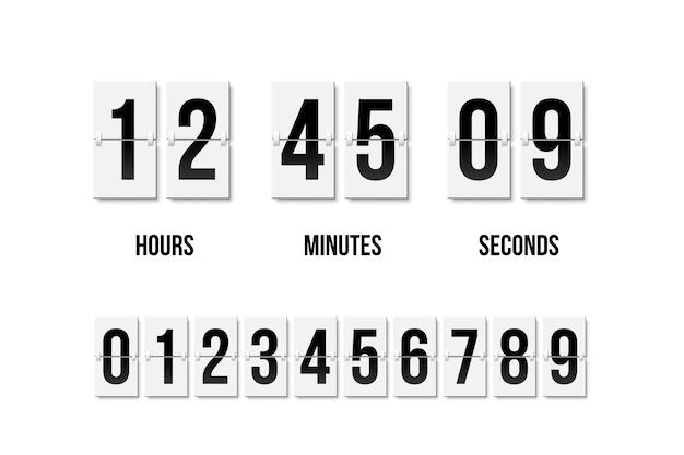 レトロなスタイルの黒い数字で何時間、何分、何秒かを示すパタパタ時計