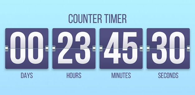 Flip clock timer. countdown counter days, counting hours and minutes numbers. flipclock timers  illustration