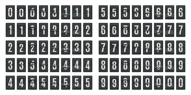 Flip countdown animation isolated on white