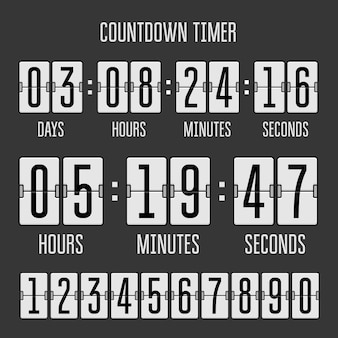 Flip countdown clock counter timer on black