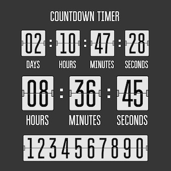 블랙에 플립 카운트 다운 시계 카운터 타이머