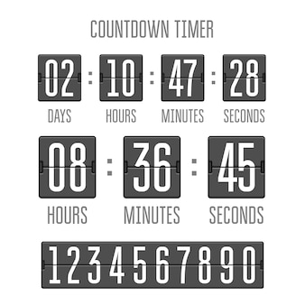 Flip countdown clock counter timer on white
