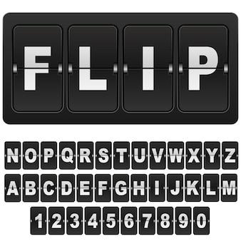 Flip countdown digital calendar clock numbers and letters.