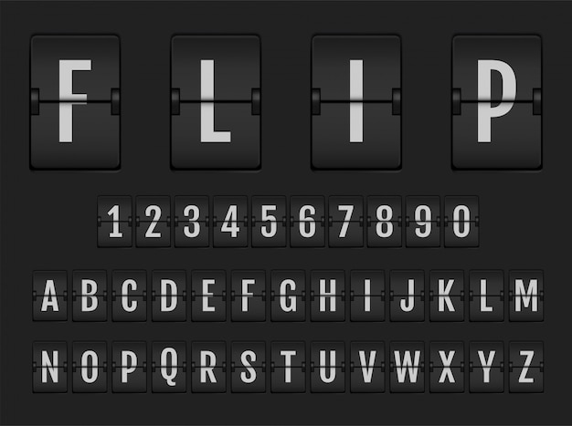 Flip digital calendar clock numbers and letters.