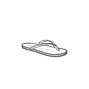 Flip flop sandal hand drawn outline doodle icon. summer time vacation attribute, slippers, shoe concept