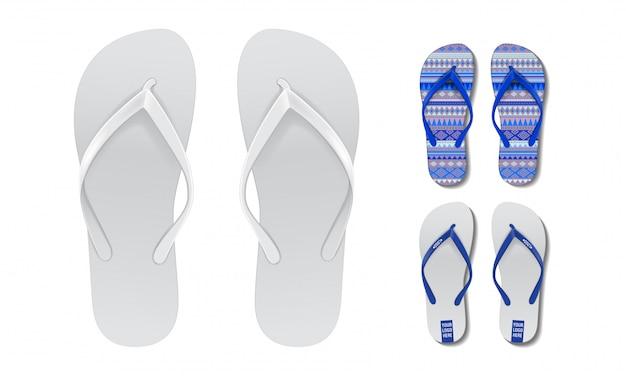 フリップフロップがモックアップに設定されています。広告のための夏のビーチサンダルのペアのベクターデザインテンプレート