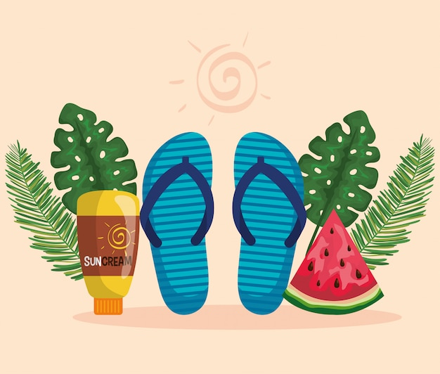 Flip-flop with watermelon fruit and suncream with leaves plants