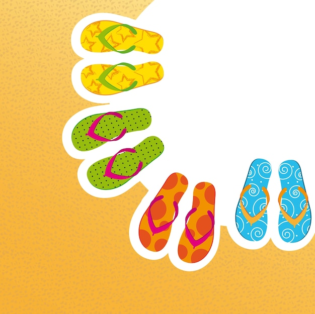 Flip flop over yellow background