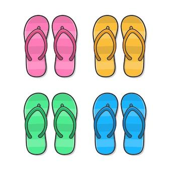 플립 플롭. 컬러 여름 슬리퍼. 여름 신발