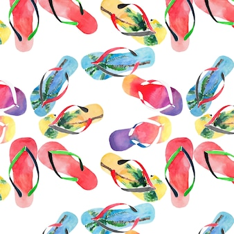 Flip flops pattern watercolor hand sketch