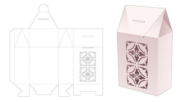 ステンシル曼荼羅パターンダイカットテンプレートとギフトボックスのパッケージを反転