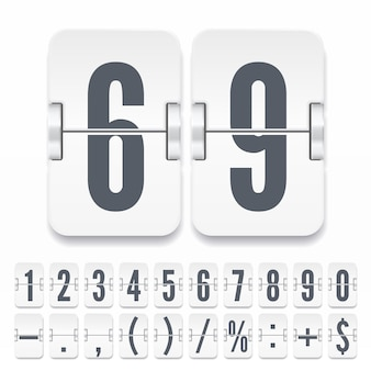 Flip numbers and symbols on light mechanical scoreboard with shadows isolated on white background. vector template for time counter or web page timer