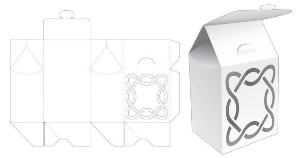 Flip packaging bag box with stenciled pattern die cut template