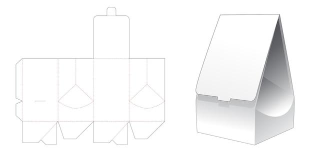 Flip packaging bag with locked point die cut template