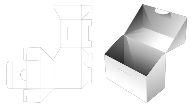 Flip packaging box die cut template